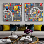 Particolored Boxes Geometric Abstract Contemporary Artist Handmade 2 Piece Multi Panel Canvas Painting Wall Art Set For Room Outfit