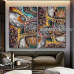 Wandering Lines Abstract Contemporary Artist Handmade Framed 2 Piece Multi Panel Wall Painting Set For Room Decor