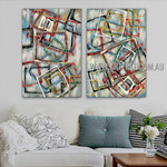 Colorful Square Design Abstract Modern Heavy Texture Artist Handmade Framed 2 Piece Multi Panel Canvas Oil Painting Wall Art Set For Room Moulding