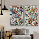 Colorful Square Design Abstract Modern Heavy Texture Artist Handmade Framed 2 Piece Multi Panel Oil Painting Set For Room Decoration