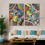 Multicolor Violin Abstract Heavy Texture Artist Handmade 2 Piece Multi Panel Oil Painting Wall Art Set For Room Wall Décor