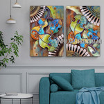 Multicolor Violin Abstract Heavy Texture Artist Handmade 2 Piece Multi Panel Wall Painting Set For Room Wall Garnish
