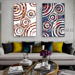 Colorful Wiggly Abstract Heavy Texture Artist Handmade 2 Piece Multi Panel Wall Art Painting Set For Room Wall Outfit
