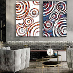 Colorful Wiggly Abstract Heavy Texture Artist Handmade 2 Piece Multi Panel Canvas Oil Painting Wall Art Set For Room Wall Tracery
