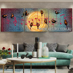 Singing Birds Abstract Contemporary Artist Handmade 3 Piece Split Panel Painting Wall Art Set For Room Wall Outfit