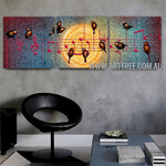 Singing Birds Abstract Contemporary Artist Handmade 3 Piece Split Panel Canvas Wall Art Painting Set For Room Wall Ornament