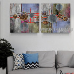 Chromatic Sinuate Abstract Contemporary Artist Handmade 2 Piece Multi Panel Canvas Oil Painting Wall Art Set For Room Wall Onlay