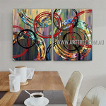 Chequered Circles Abstract Contemporary Artist Handmade 2 Piece Split Complementary Paintings Wall Art Set For Room Wall Getup
