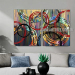 Chequered Circles Abstract Contemporary Artist Handmade 2 Piece Split Panel Painting Wall Art Set For Room Wall Garniture