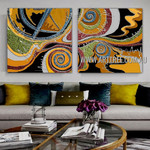 Wandering Stains Abstract Contemporary Artist Handmade 2 Piece Split Panel Painting Wall Art Set For Room Wall Adornment