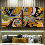 Wandering Stains Abstract Contemporary Artist Handmade 2 Piece Split Panel Canvas Wall Art Painting Set For Room Wall Flourish