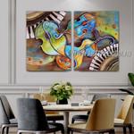 Dapple Violin Abstract Contemporary Artist Handmade 2 Piece Multi Panel Wall Art Paintings Set For Room Wall Drape