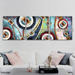 Twisting Lines Abstract Contemporary Artist Handmade 3 Piece Multi Panel Canvas Painting Wall Art Set For Room Wall Assortment