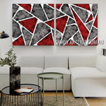 Triangular Design Abstract Modern Artist Handmade 2 Piece Multi Panel Canvas Oil Painting Wall Art Set For Room Wall Tracery