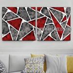 Triangular Design Abstract Modern Artist Handmade 2 Piece Split Canvas Painting Wall Art Set For Room Wall Trimming