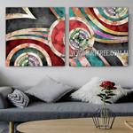 O Shaped Design Abstract Modern Artist Handmade 2 Piece Split Canvas Paintings Wall Art Set For Room Wall Ornamentation