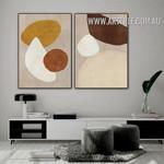 Orb Slur Circle Abstract Vintage 2 Piece Photo Canvas Print for Geometrical Shape Wall Art Décor
