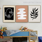 Human Portrait Leaves 3 Piece Floral Abstract Scandinavian Art Photo Canvas Print for Room Wall Finery