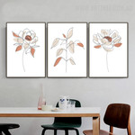 Peony Floret Flowers 3 Piece Abstract Floral Scandinavian Painting Image Canvas Print for Room Wall Tracery