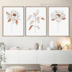 Peony Floret Scandinavian Artwork Image 3 Piece Abstract Floral Canvas Print for Room Wall Trimming