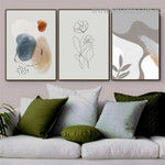 Line Art Flower Spots 3 Piece Abstract Scandinavian Painting Image Floral Canvas Print for Room Wall Finery