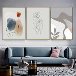 Line Art Flower Points Abstract Floral Image Scandinavian Artwork 3 Piece Canvas Print for Room Wall Illumination