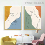 Nude Feme Face Abstract Art Pic 2 Piece Figure Modern Canvas Print for Room Wall Arrangement
