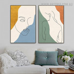 Nude Feme Spots Abstract Figure Modern Artwork Pic 2 Piece Canvas Print for Room Wall Finery