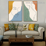 Nude Feme Woman 2 Piece Abstract Figure Modern Painting Pic Canvas Print for Room Wall Flourish