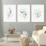 Eucalyptus Foliage Spots 3 Piece Abstract Nordic Floral Modern Painting Picture Canvas Print for Room Wall Equipment