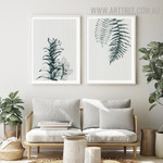 Fern Leaves 2 Piece Floral Abstract Vintage Artwork Picture Canvas Print for Room Wall Arrangement