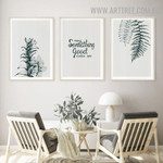 Make Something Leaves Abstract Floral Vintage 3 Piece Quotes Artwork Picture Canvas Print for Room Wall Ornament