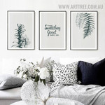 Make Something Fern Leaflets Abstract 3 Piece Quotes Floral Vintage Painting Picture Canvas Print for Room Wall Adornment