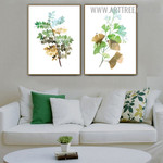 Ginkgo Leaf Palm Abstract Modern Floral 2 Piece Art Picture Canvas Print for Room Wall Décor