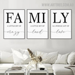 Family Crazy 3 Piece Quotes Nordic Contemporary Art Picture Canvas Print for Room Wall Drape