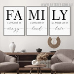 Family Loud Nordic Contemporary 3 Piece Quotes Artwork Picture Canvas Print for Room Wall Garnish