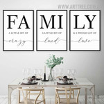 Family Love Quotes Nordic Art 3 Piece Contemporary Canvas Print for Room Wall Outfit