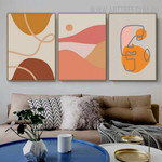 Roundly Daubs Mountains 3 Piece Retro Painting Picture Abstract Scandinavian Canvas Print for Room Wall Drape
