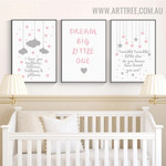 Twinkle Stars Heart Kids Quotes 3 Piece Artwork Image Modern Canvas Print for Room Wall Trimming