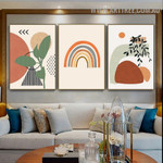 Streaks Triangle Leaves Abstract Geometric Painting Image 3 Piece Scandinavian Canvas Print for Room Wall Tracery