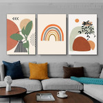 Streaks Triangle Lines 3 Piece Scandinavian Abstract Geometric Art Image Canvas Print for Room Wall Trimming