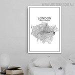 United Of Kingdom London Abstract Map Modern Painting Image Canvas Print for Room Wall Decor