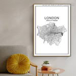 United Of Kingdom Abstract Map Pattern Art Modern Image Canvas Print for Room Wall Arrangement