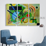 Solid Green III Abstract Reproduction Artist Handmade 3 Piece Modern Art Oil Paintings For Room Flourish