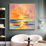 Sea Sunset Nature Modern Heavy Texture Artist Handmade Abstract Landscape Painting For Room Moulding