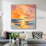 Sea Sunset Landscape Abstract Modern Heavy Texture Artist Handmade Scenery Painting On Canvas For Room Outfit