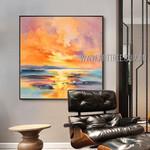 Sea Sunset Landscape Abstract Modern Heavy Texture Artist Handmade Scenery Art Painting On Canvas For Room Onlay