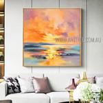 Sea Sunset Landscape Abstract Modern Heavy Texture Artist Handmade Landscape Art Painting For Room Decor