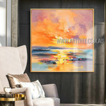 Sea Sunset Modern Heavy Texture Artist Handmade Abstract Landscape Beautiful Paintings Of Nature For Room Finery