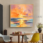 Sea Sunset Landscape Abstract Modern Heavy Texture Artist Handmade Nature Painting On Canvas For Room Tracery